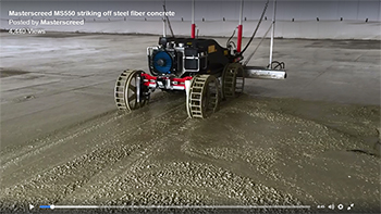 Masterscreed MS550 striking off steel fiber concrete floor