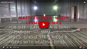 MS550 - 2410m2 single steel mesh & underfloor heating pipes