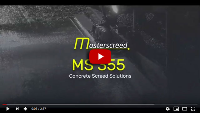 Masterscreed MS355 in action on upper level steel deck